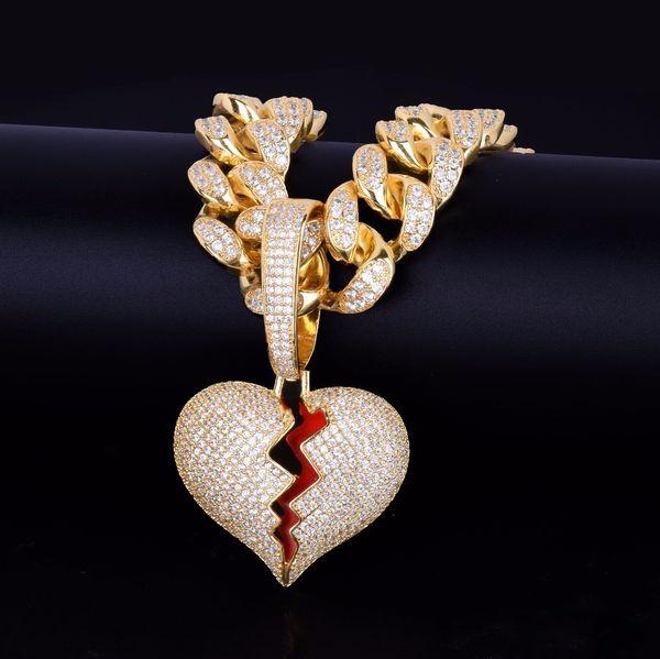 С 20 мм кубинская цепь золото серебро разбитое сердце подвески ожерелья Bling Циркон