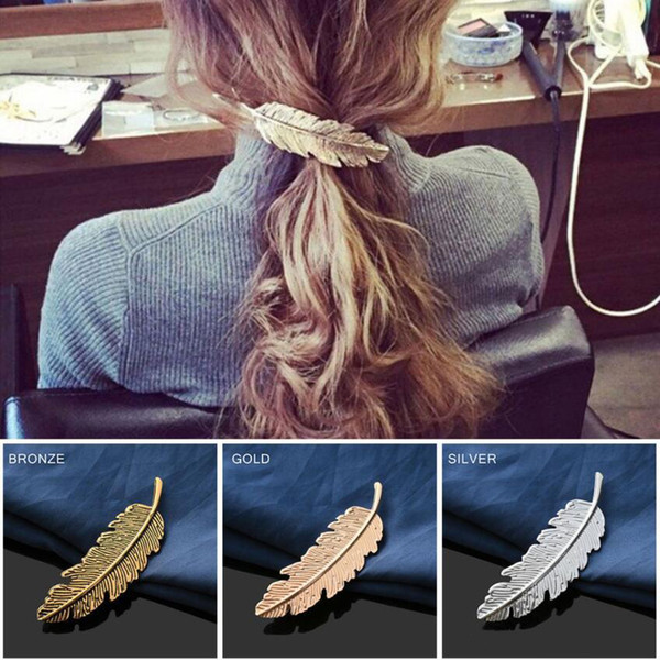 Fashion Retro Metal Leaf Shape Hair Clip Barrettes Crystal Pearl Hairpin Barrette Color Feather Hair Claws Hair Styling Tool 3 Colors