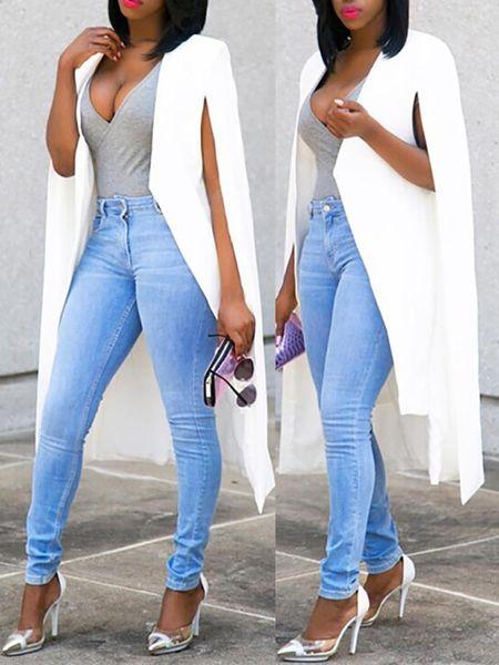 Women Autumn Fashion Elegant Casual Solid Split Outwear Long Sleeve Cape Design Long Trench