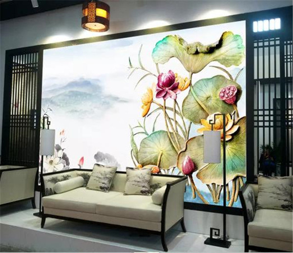 3D Bedroom Wallpaper New Chinese Artistic Conception Landscape Birds and Flowers Family Background Wall Practical and Beautiful Wall paper