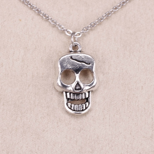 New Fashion Tibetan Silver Pendant skeleton skull 23*12mm Choker Charm Short Long DIY Necklace Factory Price Handmade Jewelry