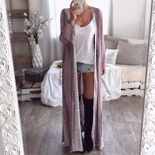 Bayan Uzun Kollu Yılan Cilt Baskılı Ceketler 2019 Yaz Bahar Şifon Hırka Gevşek Boho Dış Giyim Moda V Yaka Uzun Coat