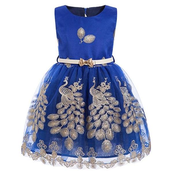 Meninas pavão Princesa vestido de Festa crianças roupas menina tutu vestido Para O Casamento Da Criança Elegante Prom baby girl azul roupas