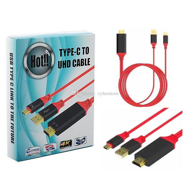 Promosyon 2 in 1 USB Tip C HDMI Konnektör 4 K * 2 K 3D 1080 P HDTV Adaptör Kablosu 3.1 TV telefon Için MacBook / Chromebook S8