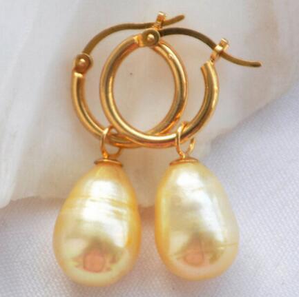 z5292 12MM golden RICE FRESHWATER PEARL EARRINGLovely Ohrringe der feinen Adel-Dame Frauen