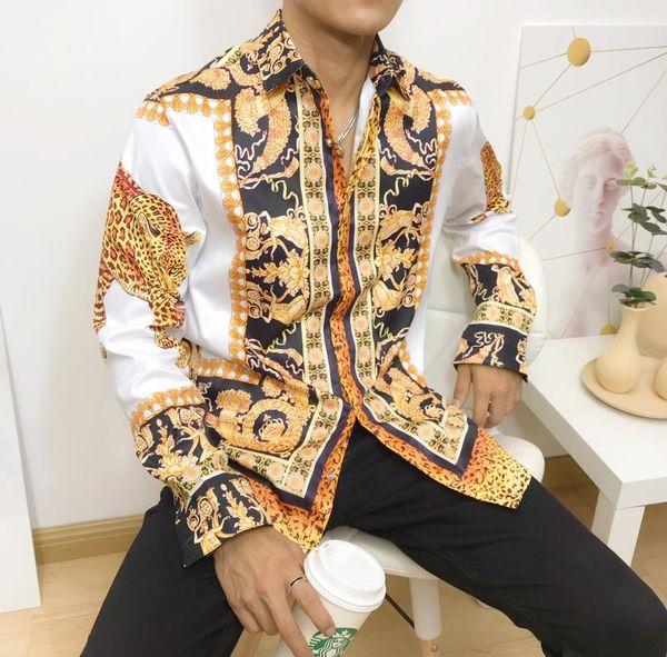 Nouveau Medusa Casual Shirt Men Slim Fit Chemises Mode Casual Dress Shirts Hommes Designs chemises M-2XL