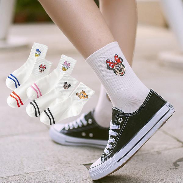 mens women designer socks female Korean version of the cartoon head cotton sock Japanese campus wind socking