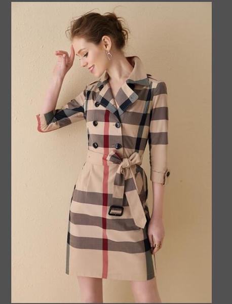 Primavera e autunno Donna Trailblazer Dress Large Size Sexy doppio petto giacca Slim Suit manica lunga scozzese Abito elegante A-1069300