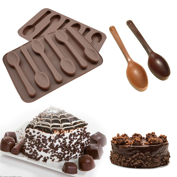 Bakeware Silicone 6 Holes Spoon Shape Chocolate Mold Cake Decorating Tools Kitchen Pastry Baking Soap Stencils Silicone Form
