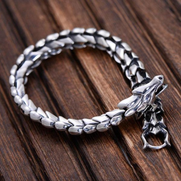 Genuine 925 Sterling Silver Jewelry Heavy Dragon Scale Bracelet For Men 23cm Vintage Punk Style C19021501