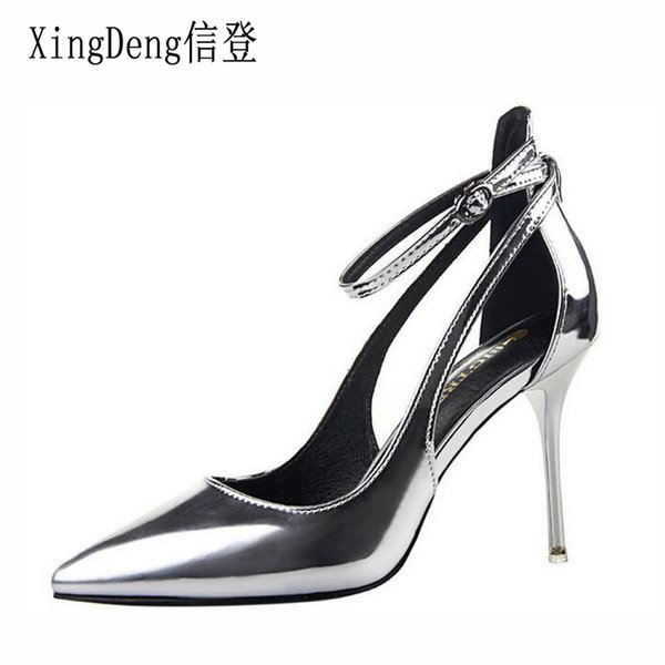 Dress Women Ankle Strap Summer Pointed Toe Patent Leather High Heels Pumps Shoes Office Ladies Dress Shoes Stilettos Wedding Party