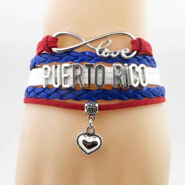 Aşk Porto Riko Bilezik kalp Charm Aşk Porto Riko ülke bilezik bilezik kadın ve erkek için