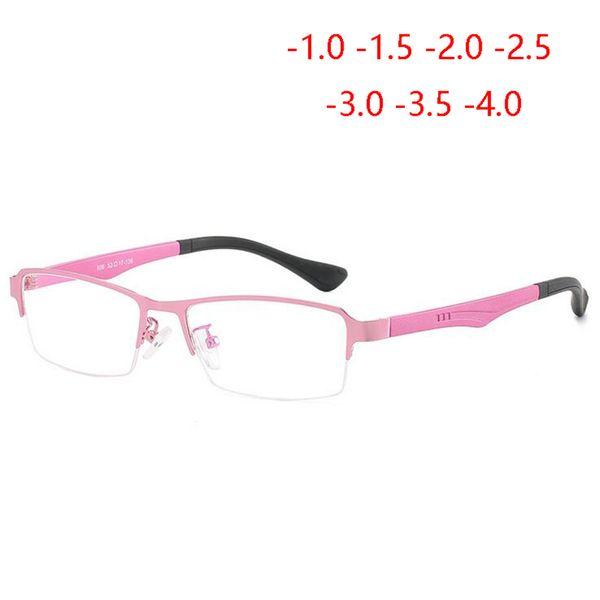 Mesdames Métal Frame Demi 1,56 asphérique Lunettes femmes en alliage de titane affaires Myopie lunettes avec degré 0 ~ -4