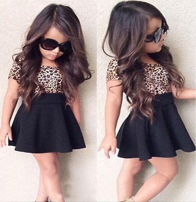 Leopard 2019 Mignon Bébés filles Enfant Princesse à manches courtes T-shirt Top court Tenues Robe