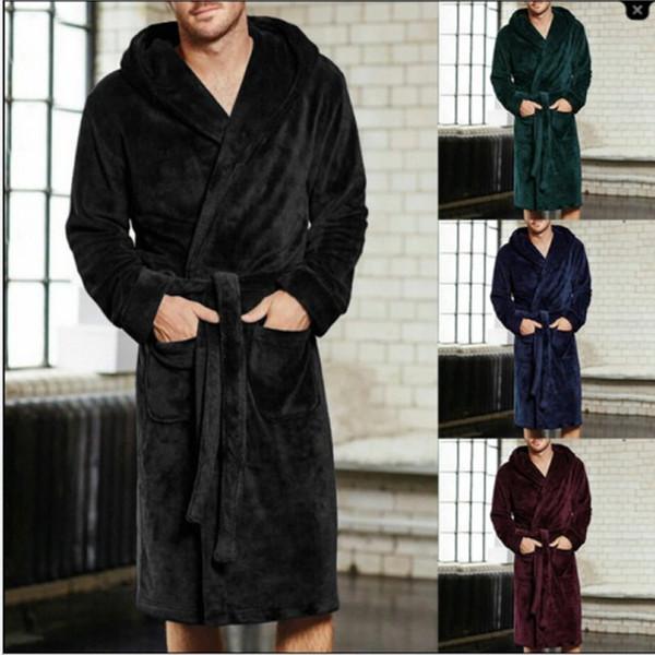 На продажу мужчины зимний халат мужские теплые длинные кимоно халат для сна банные халаты ночь халат плюс размер 4xl 5xl
