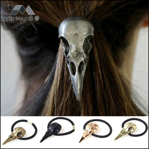 1 pc Raven Crow Skull Headbands Gold Silver Black Bronze Metal Animal Bird Skeleton Elastic Rubber Bands Hair Accessories