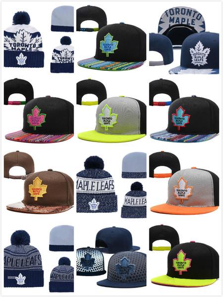 Erkekler Toronto Maple Leafs Buz Hokeyi Örme Beanie Nakış Ayarlanabilir Hat İşlemeli Snapback Mavi Gri Beyaz Dikişli Örgü Şapka Caps