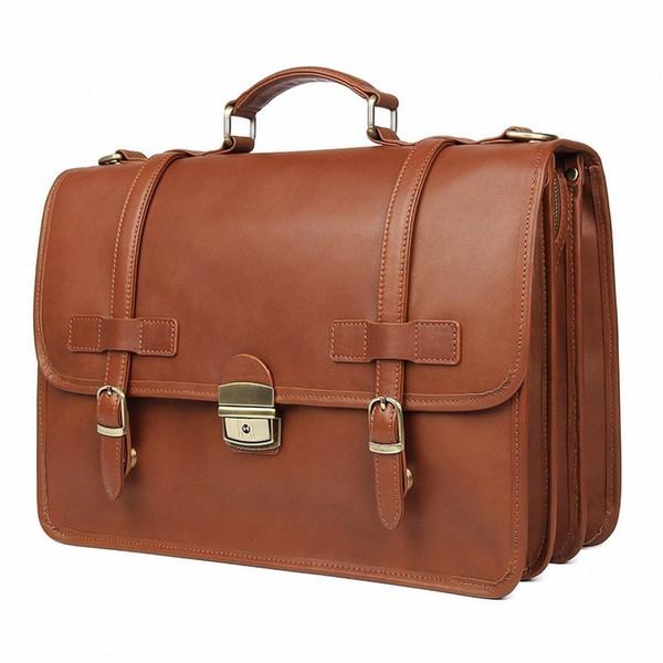 New Men/'s Vintage Genuine Brown Leather Messenger Shoulder Laptop Office Bag