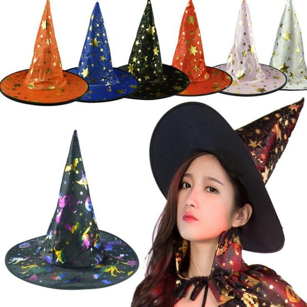get cheap 50% off brand new Witch Pointed Cap Colorful Star Print Halloween Costume Party Hats Women  Men Halloween Costume Accessory Devil Cap 30th Birthday Party Supplies 40th  ...