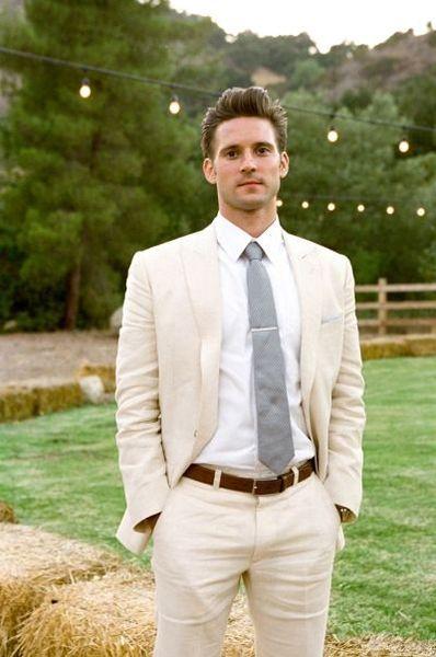 Fashion Summer Beach Garden Wedding Suits For Men Ivory/White Linen Casual Suit Groom Best Man Party Prom Suit Blazer 2 Pieces