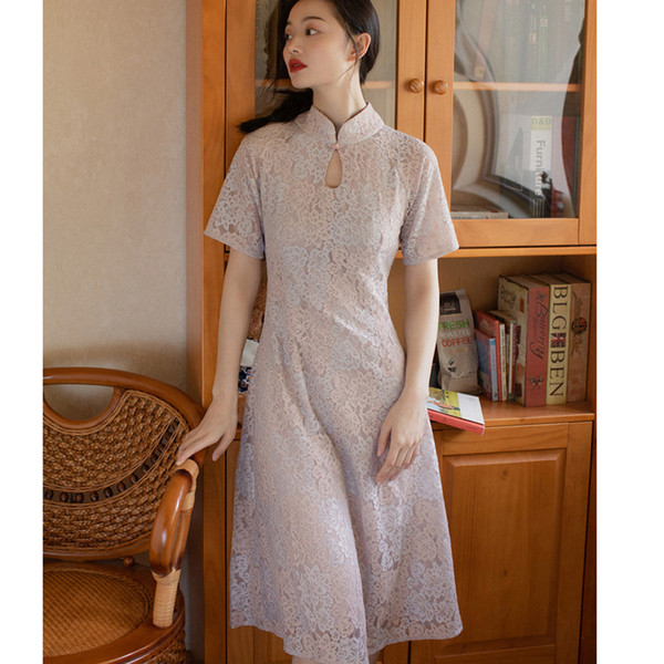 Women Dress Lace Vintage Cheongsam Design Elegant Ladies Party Prom Wedding Formal Fashion New Look Dresses 8061