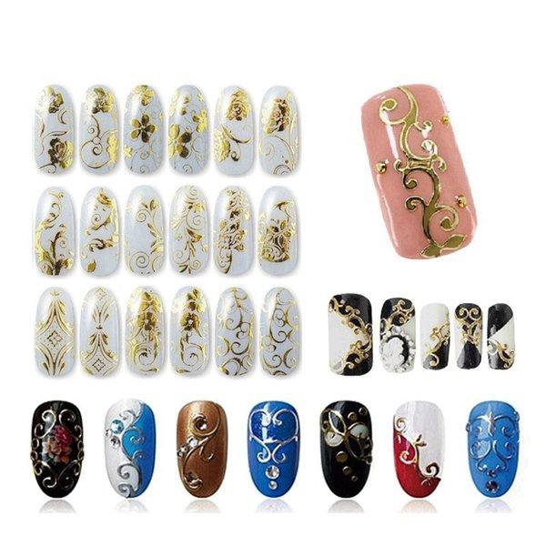 Pegatinas de uñas Pegar Manicura Flores Pegatina Calcomanía 3D Nueva Moda Decoraciones de uñas Decoración de manicura Belleza para el hogar