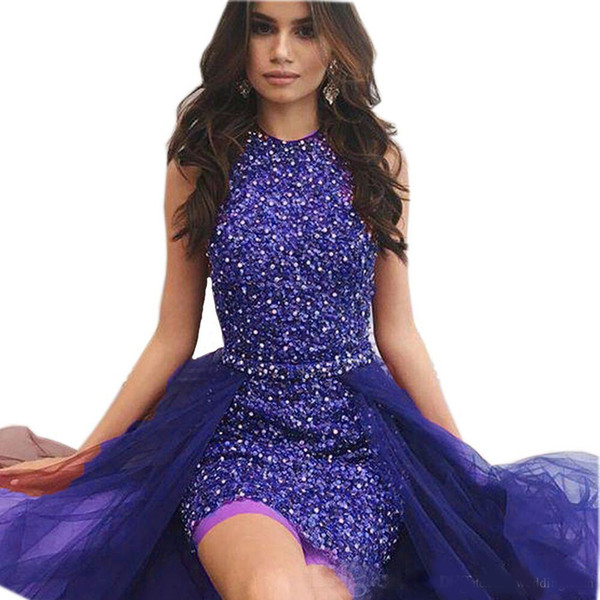 Sparkly Sequined Short Prom Dresses With Detachable Train Jewel Neck Beaded Party Dress Tulle Crystals Sheath Burgundy Evening Gowns