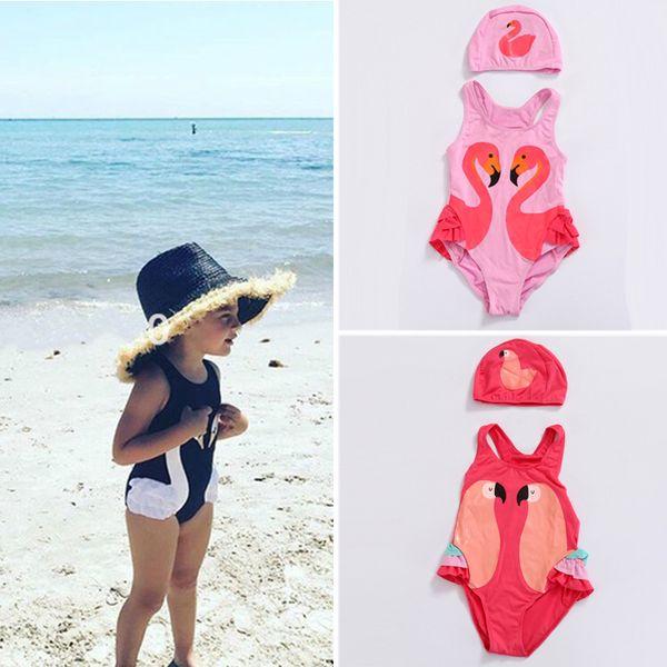 3 cores black swan flamingo melão papagaio swimwear touca de banho de uma peça crianças meninas bebê swimsuit crianças roupas de grife meninas dhl jy40