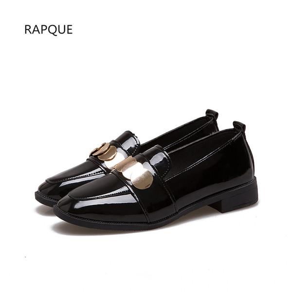 65658d20 Zapatos de vestir de charol Mujer Bombas de tacón bajo para las mujeres  Calzado femenino Negro