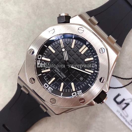 Heißer Verkauf Luxus Royal Oak Offshore Taucher 42mm Automatikwerk 15703 Serie Gummi Gürtel Herren Schwarzes Zifferblatt Sportglas Zurück Uhren