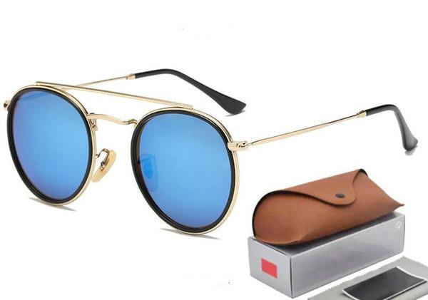 New Arrial 3647 Steampunk sunglasses women men metal frame double Bridge glass lense Retro Vintage sun glasses Goggle with box