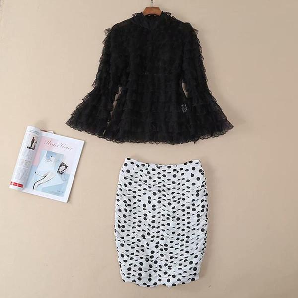 Nueva moda Runway 2019 diseñador traje conjunto mujeres de la colmena de encaje blusa Dot impresión doblez conjunto de falda