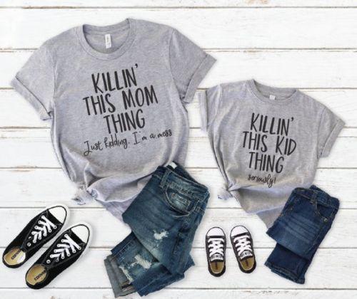 Mode Mutter Tochter T-Shirt Familie Passende Kleidung Frauen Jugendliche Mädchen-beiläufiges Sommer-Buchstabe-Druck-T-Shirt elegant playa Kleidung