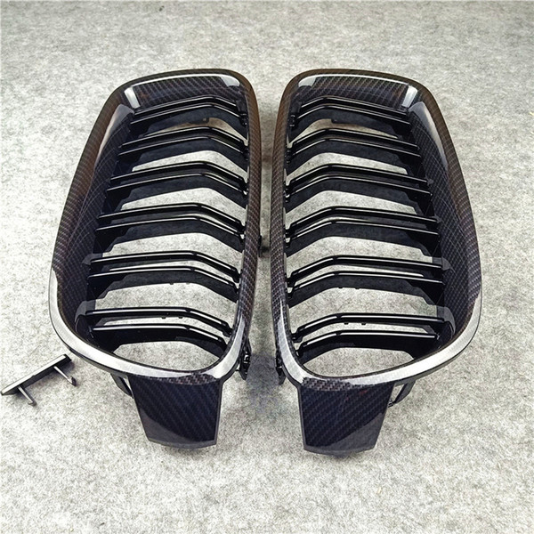 top popular A Pair 2 line double slat Kidney grill grille Fits for BMW 3 Series F30 F35 ABS M Color Car front grilles 2012-IN 2021