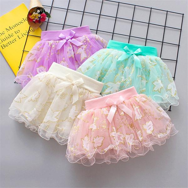 INS Designs Little Girls Summer Leaf Gilding Gauze Skirt Short Dance Skirt Baby Girls TUTU Skirts Princess Party Wear Lovely Child Clothing
