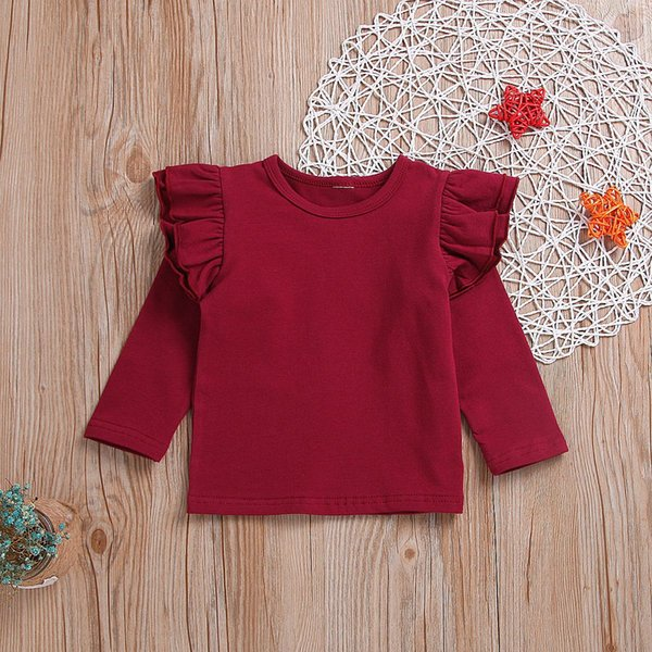 Personalized ABC Department Cotton Girl Toddler Long Sleeve Ruffle Shirt Top