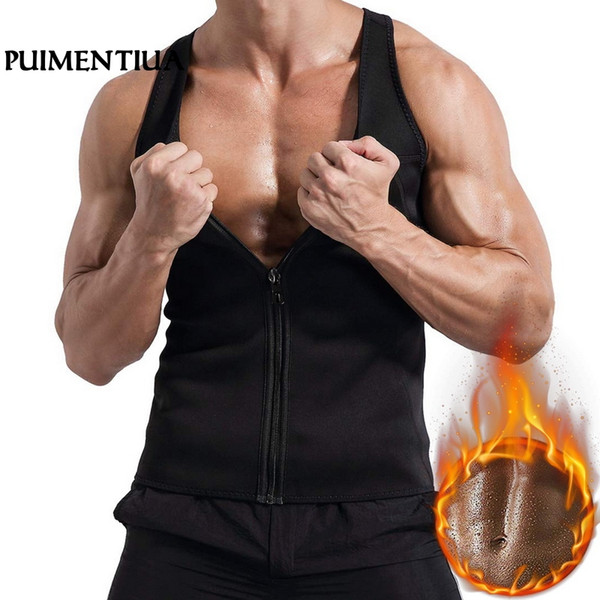 Puimentiua 2019 Männer Trainings-Trainer Vest Sweat Sauna Taille Trainer Körper-Former Slim Fit Male athletisches Hemd
