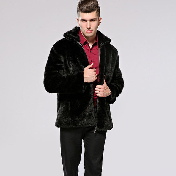 Men's Outerwear & Coats Men's faux fur coats mink coats hipster fur hooded stand-up jackets to keep warm