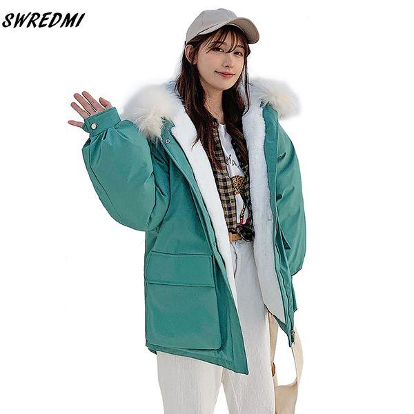 swredmi 2019 new arrival winter jacket women large fur green women coat jacket lambswool warm parka snow wear dovetail warm coat