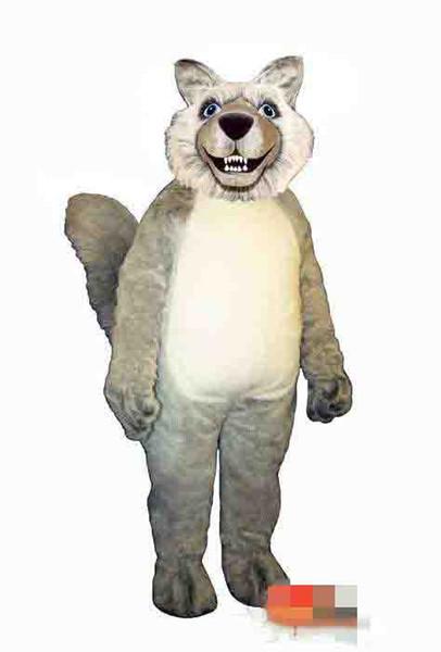 Traje da mascote lobo cinzento personalizado tamanho adulto frete grátis