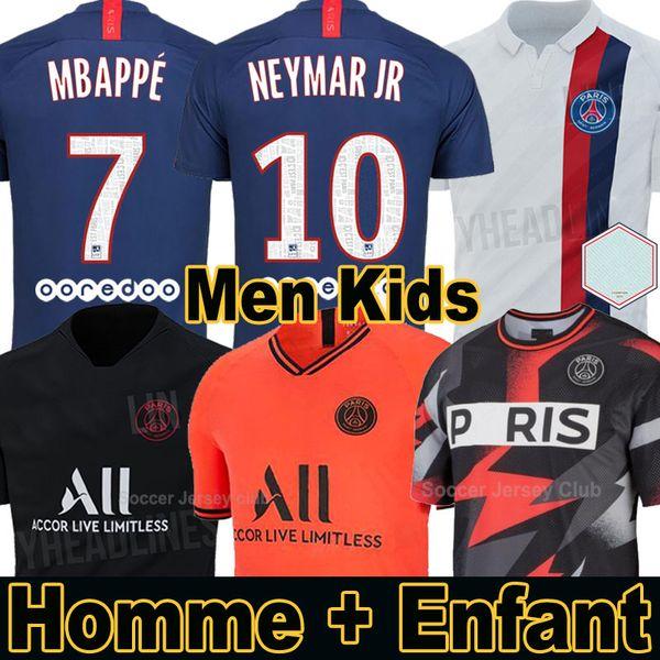 Camiseta equipación PSG fútbol Paris Saint Germain NEYMAR JR MBAPPE SARABIA ANDER HERRERA CAVANI AIR JORDAN 2019 2020 portero campeones conjuntos adultos hombres mujeres niños kits