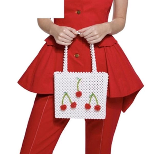 good quality Pearls Bag Handmade Woven Beaded Cherry Box Totes Bag Women Evening Party Handbag Brand Top-handle Bags Bolsa