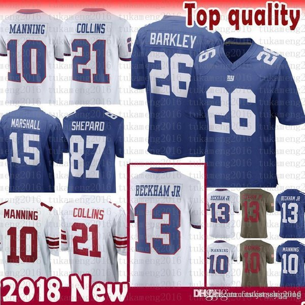 new product 25a25 fcdd2 2019 26 Saquon Barkley New York Gaints Jersey 10 Eli Manning 13 Odell  Beckham Jr 15 Brandon Marshall 21 Landon Collins 87 Shepard Simms Cheap Top  From ...