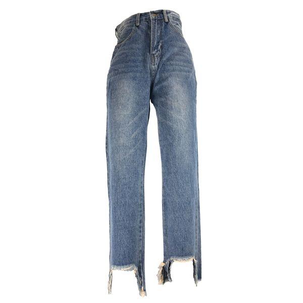 Women Jeans Mujer Fashion Mom Jean Femm Loose Full Length High Waist Elastic Denim Pants Zipper Fly Retro Stretchy Blue