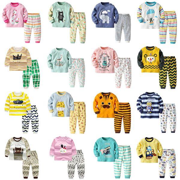 Kinder Zweiteiler Langarm Schlafanzug für Kinder 2 Teile Set Outfits Kleinkind Jungen Unterwäsche Kleine Mädchen Nachtwäsche Anzüge Gießen Enfants Kleidung