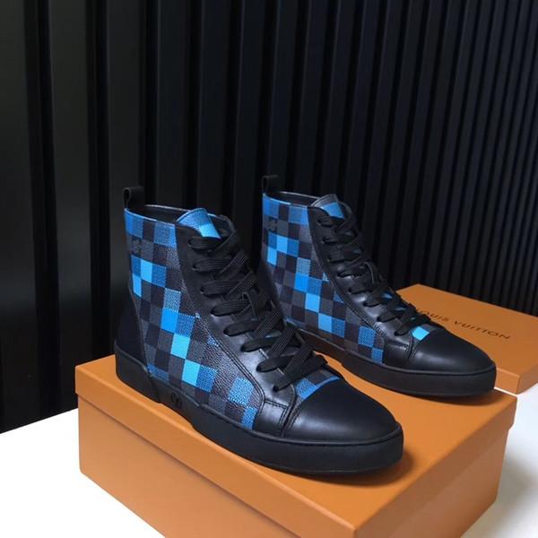 2019 Yeni Gelenler Moda SICAK satış Günlük Ayakkabılar Düz adam yüksek kesim hakiki deri ayakkabı en kaliteli Baskılı ücretsiz nakliye sneakers