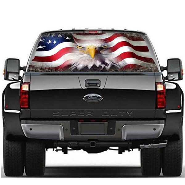 1 UNID Calcomanías para Automóviles Etiqueta de la Ventana Trasera del Águila Blanca Gráfico Trasero Calcomanía de Camión SUV Ver a través de Pegatinas de Vinilo