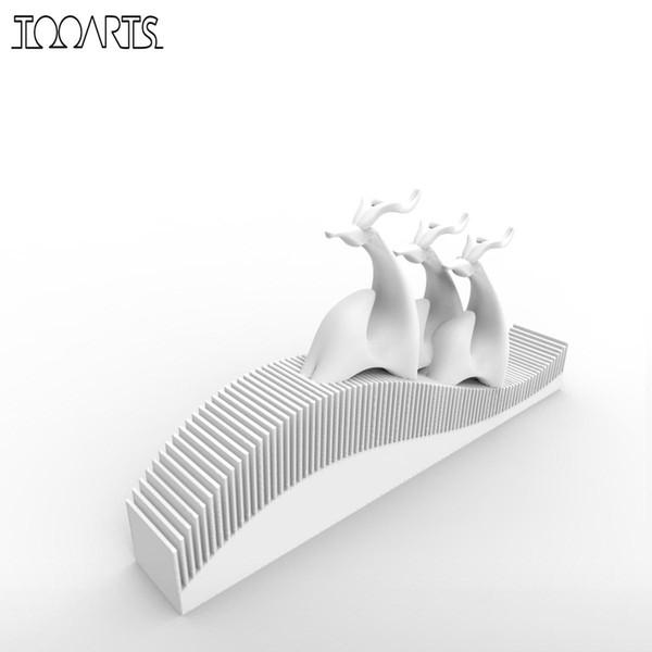 Yeni Elk Aile 3D Baskılı Heykel Ofis Masası Heykeli Dekorasyon Ev Dekorasyon Hediye için Heykelcik Iyi Şanslar