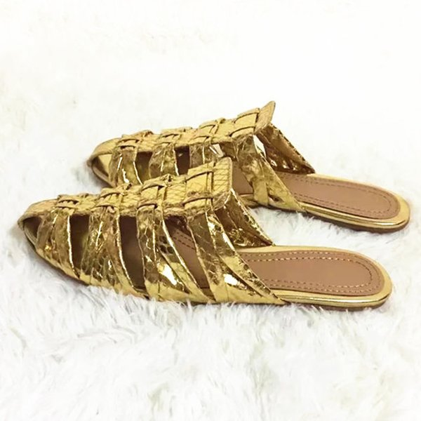 2018 Hot Summer Shoes Donna Pantofole Snakeskin Lines Decorazione in metallo Rome Slides Fashion Outside Tipe Sexy Scarpe Donna Pantofole
