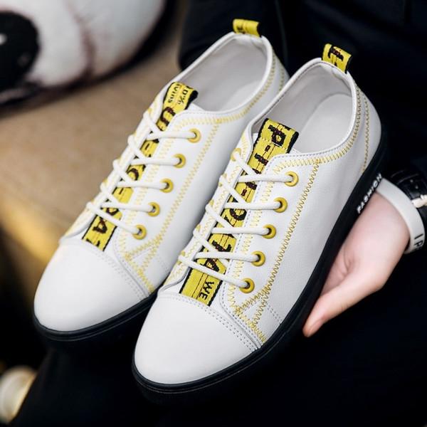 cfb3ab0e 2019 hombres vulcanizados zapatos casuales con cordones zapatos planos del  dedo del pie redondo zapatillas de